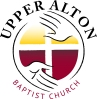 Logo for Upper Alton Baptist Church; two hands reaching around a cross.