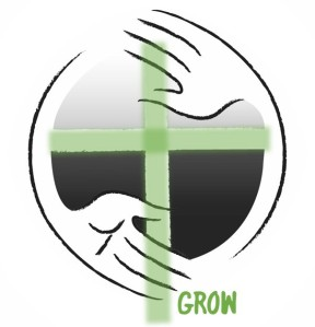 Image of church logo with a green cross and the word GROW in the bottom right.