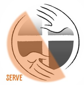 Image of the church logo with half the image orange and the word SERVE in the lower left corner.