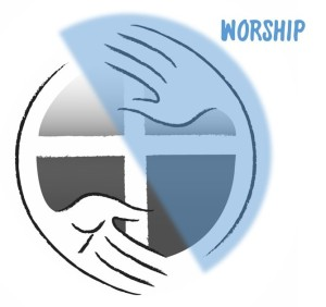 Image of church logo half covered in the color blue and the words WORSHIP in the upper right corner.